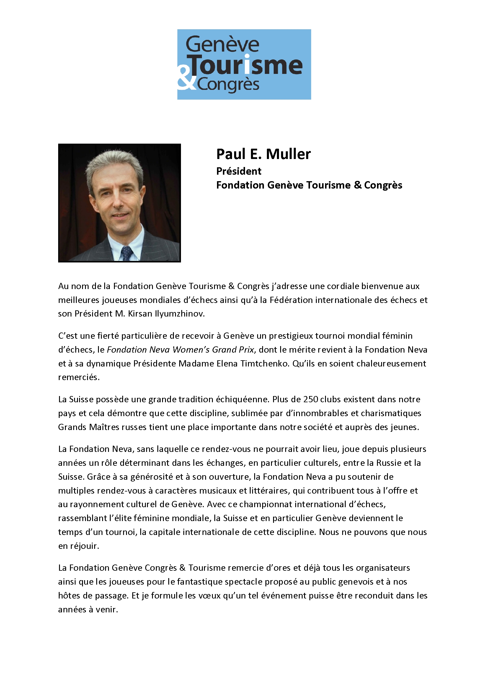 Message de bienvenue de M. Paul E. Muller