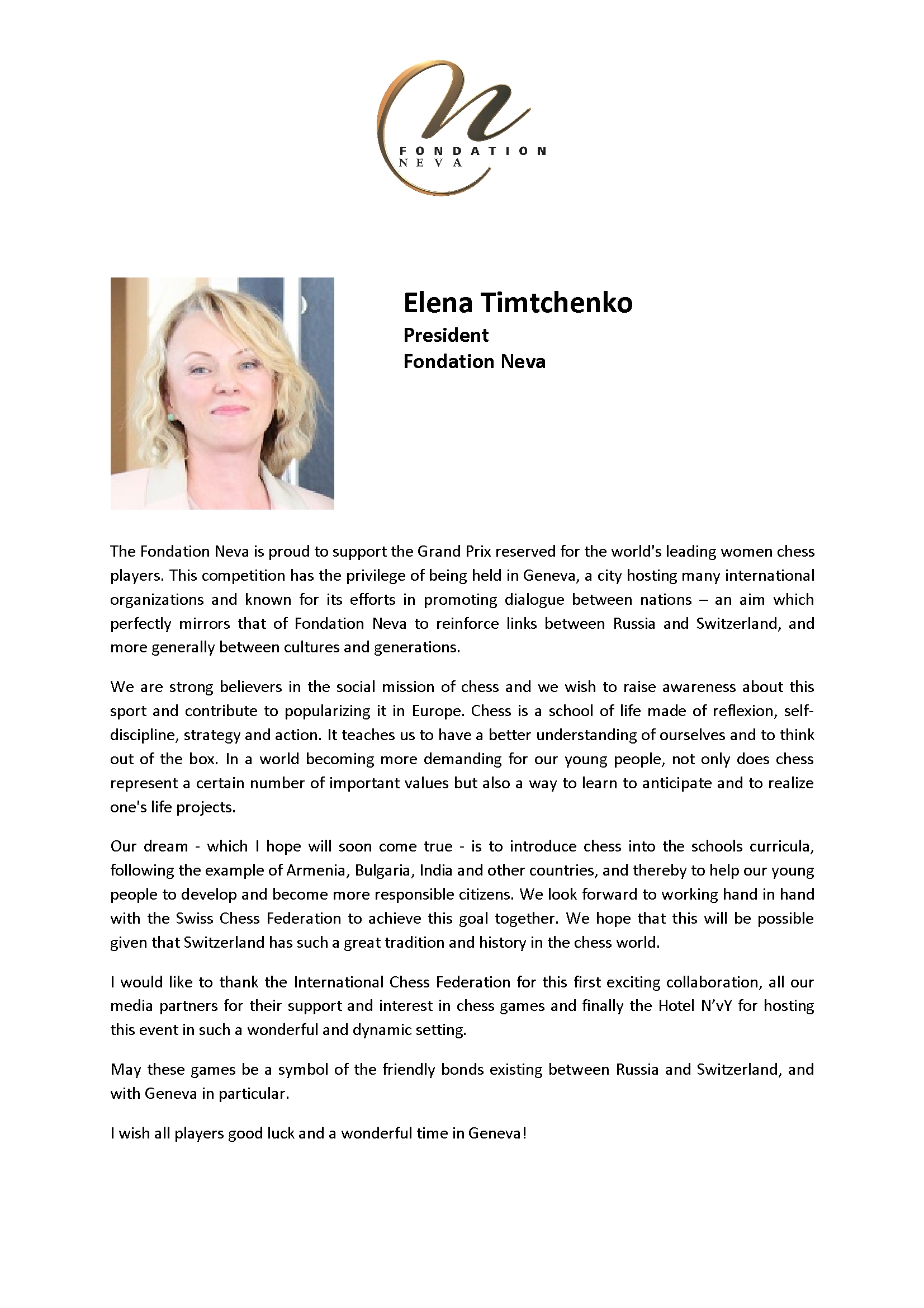 Welcome letter Elena Timtchenko3 Women Chess